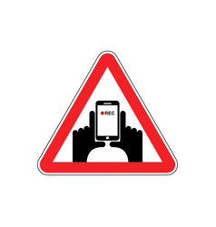 Attention vertical video hand and smartphone to vector