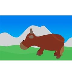 Cow walks eats the grass  eps10 vector