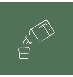 Medicine and measuring cup icon drawn in chalk vector