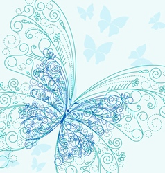 Beautiful blue butterflyes in flourish style for i vector