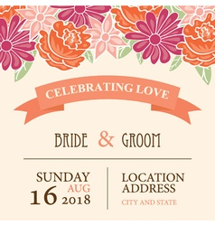 Wedding invitation card with floral background vector