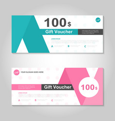 Premium pink green gift voucher template layout vector