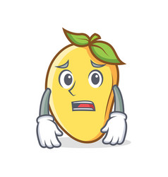 Afraid mango character cartoon mascot vector