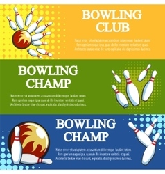 Bowling banners set vector image vector image