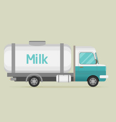 Car with milk flat cartoon vector