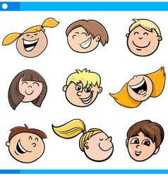 cartoon kids characters set vector image vector image