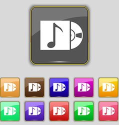 Cd player icon sign set with eleven colored vector