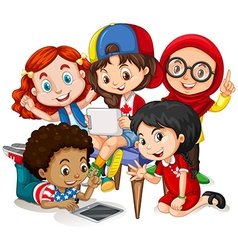 Children working in group vector