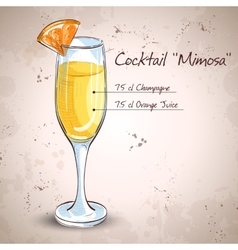 Cocktail alcohol Mimosa vector image vector image