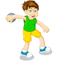 Cute boy athlete doing discus throwing vector