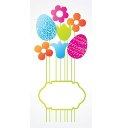 Easter card with bouquet from eggs and flowers vector