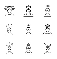 Emotions types icons set outline style vector