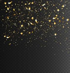 Festive celebration golden confetti on transparent vector