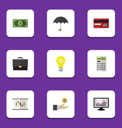 Flat icon incoming set of payment bubl portfolio vector
