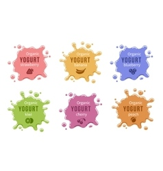 Fruit yogurt logos set vector image