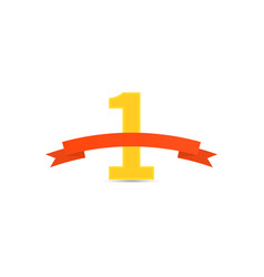 Gold number one red ribbon on white background vector