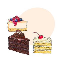 Hand drawn desserts - pieces of cheesecake and vector