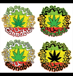 Marijuana cannabis jamaican colors design stamps vector