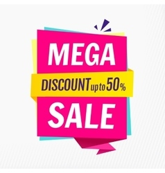 Mega sale banner template Discount up to 50 vector image
