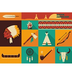 Native americans icons flat design vector