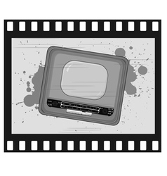 old frame with old tv vector image vector image