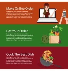 Order online groceries get the vegetable and cook vector