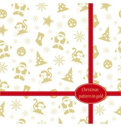 Pattern Merry Christmas in gold colors vector image