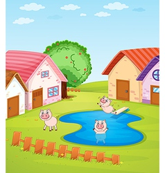 Pigs and houses vector image vector image