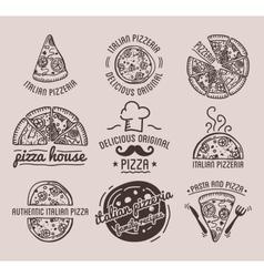 Pizza label design typographic set vector