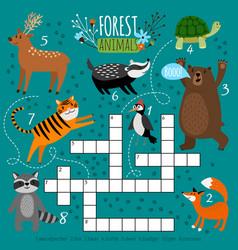 Printable animal crossword vector