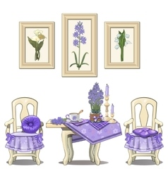 Romantic purple serve table with flowers chairs vector