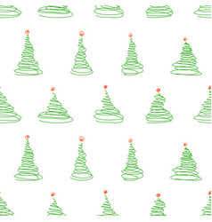seamless pattern from sketch christmas trees vector image