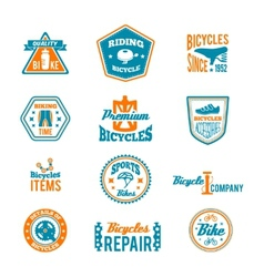 Set of bicycling label vector image