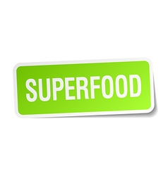 Superfood green square sticker on white background vector