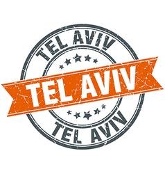 Tel aviv red round grunge vintage ribbon stamp vector