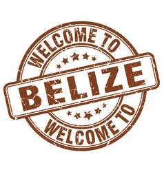 welcome to belize brown round vintage stamp vector image vector image