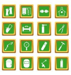 Welding icons set green vector
