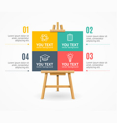 Wooden easel menu infographic option banner card vector