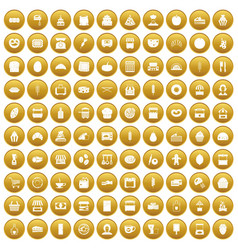 100 bakery icons set gold vector