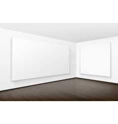 Empty blank white posters pictures frames on walls vector