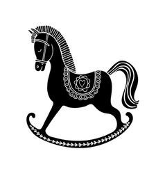 Black rocking horse vector