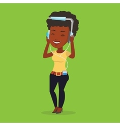 Young woman in headphones listening to music vector