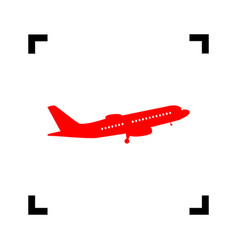 flying plane sign side view red icon vector image