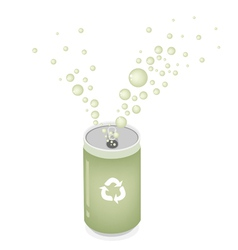 Soda can with recycle symbol for save the world vector