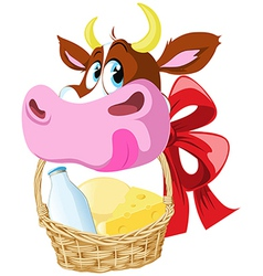 Cow holding basket vector