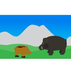 Pig walks eats the grass  eps10 vector