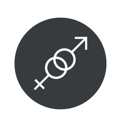 Monochrome round gender signs icon vector