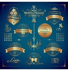 Big set of classic wedding vintage badges vector