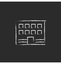 Office building icon drawn in chalk vector