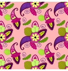 Bright seamless pattern with paisley and flowers vector
